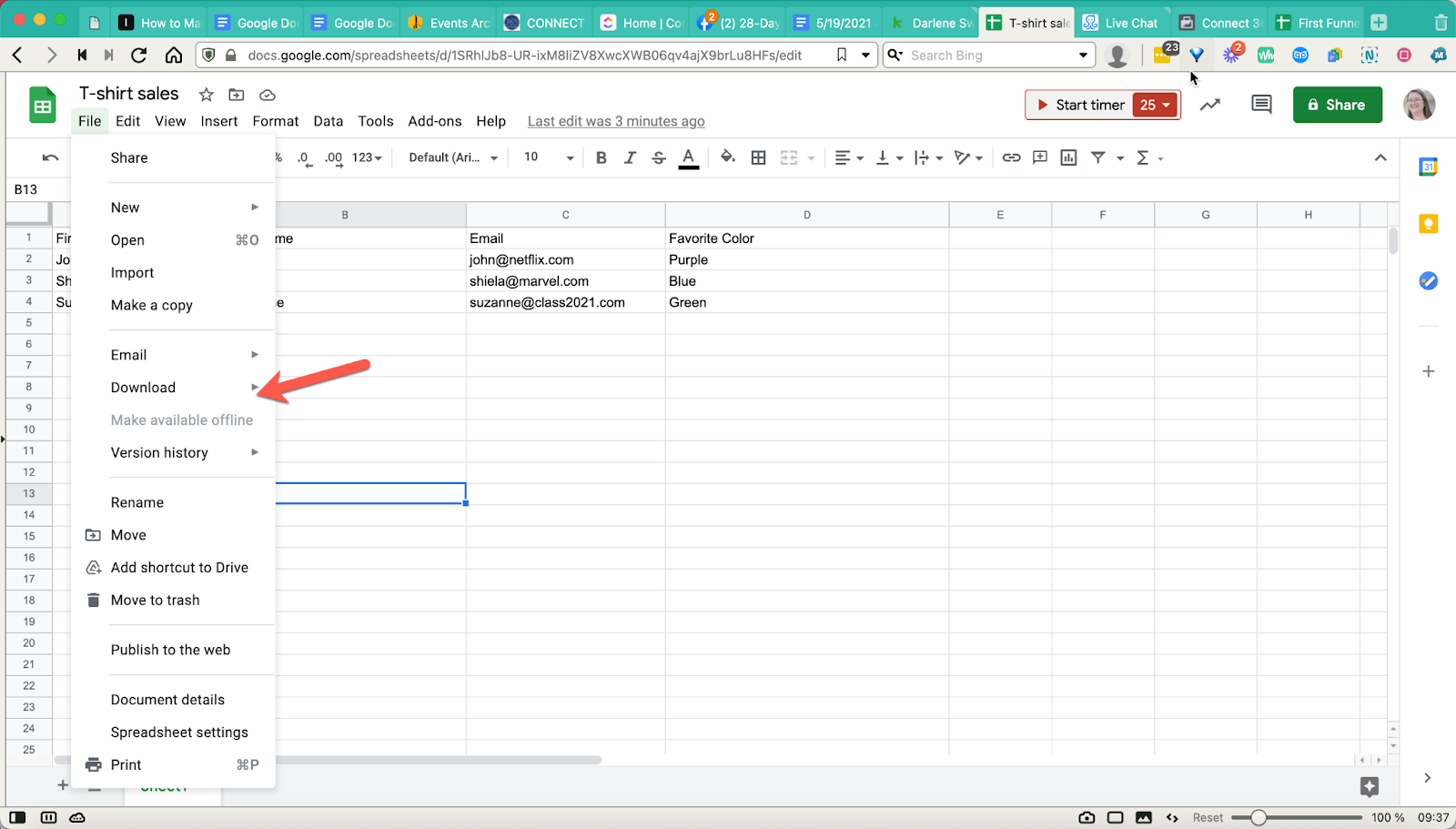 Downloading a google sheet as a .csv file with custom fields in Connect 365