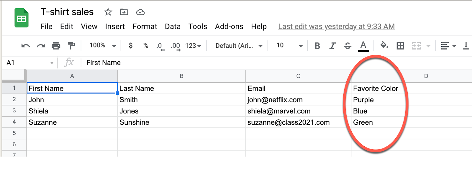 Add a column to your Connect 365 Email Outreach spreadsheet for custom field data